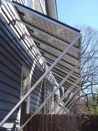 PV array on a solar awning that can be set at different angles to match the season.