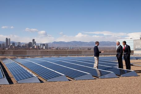 Rooftop solar on large building with President Obama