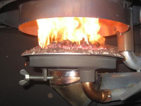 Wood pellet-burning heater