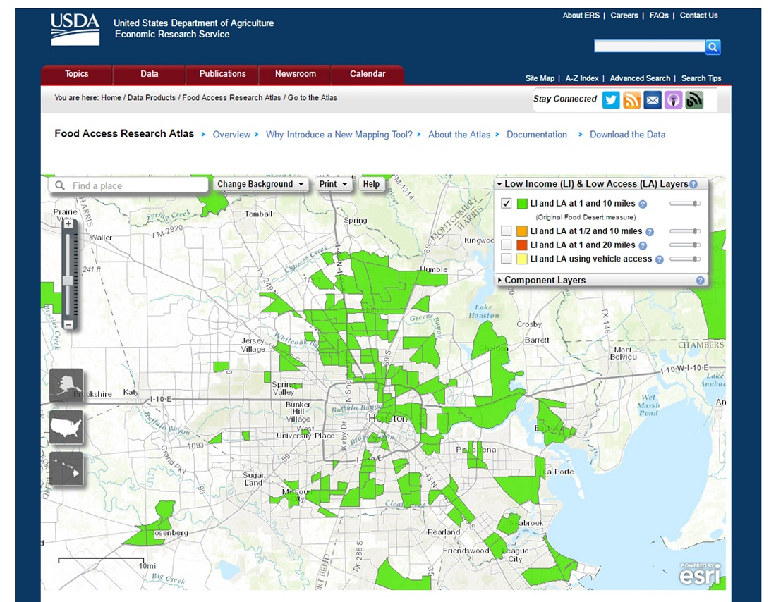 Map of food desert areas in Houston, Texas