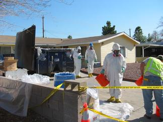 EPA workers clean up a residential mercury spill in Nevada.
