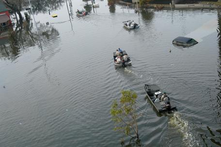 Rescue boats in New Orleans after Hurricane Katrina (2005).
