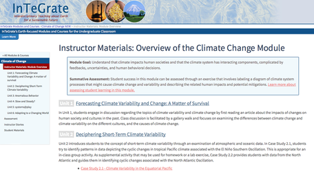 Screenshot of Instructor Materials from Climate of Change module
