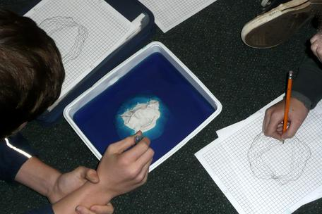 Students constructing a topographic map