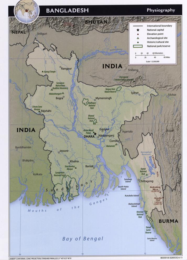 Map Of Asia Ganges River.The India Bangladesh Ganges River Split