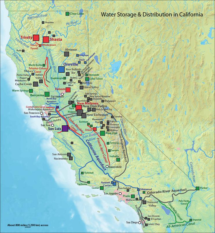 Map of aqueduct systems serving the State of California.