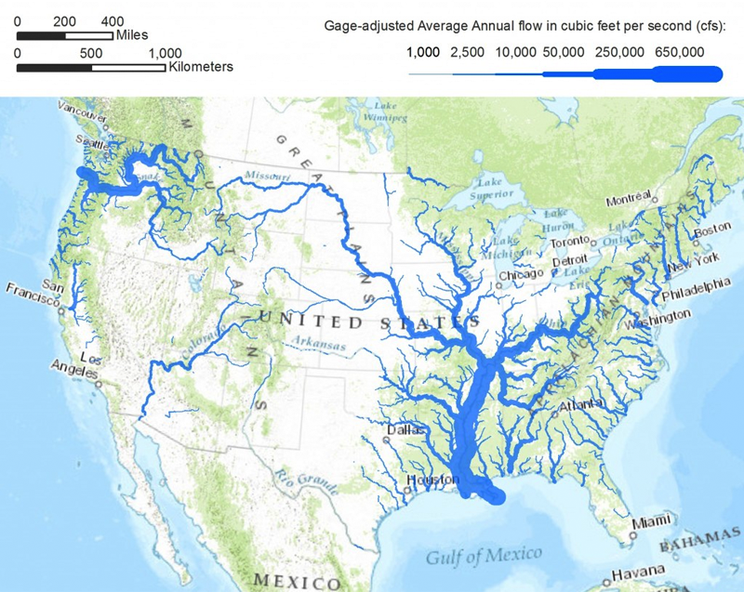 Map shows major rivers in US, with widths scaled by average water discharge.