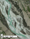 The Tagliamento River and floodplain in northeastern Italy. Described in the image caption below.