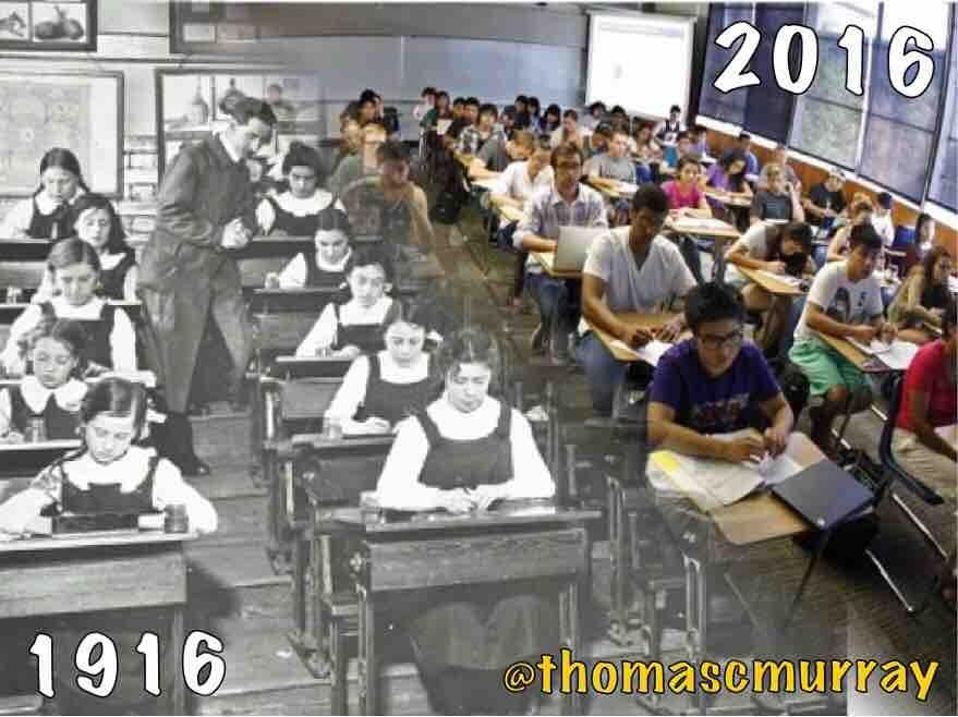 Images of classrooms of 1916 and 2016 mesh seamlessly