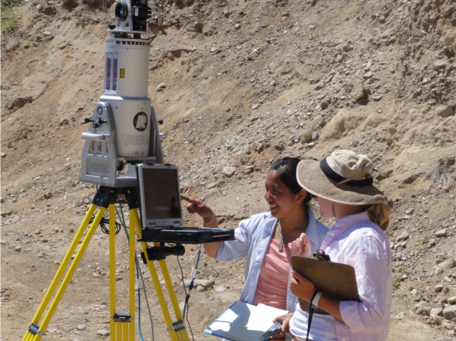 Students using terrestrial laser scanning equipment in the field.