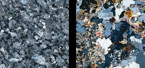 hand specimen and thin section of granite
