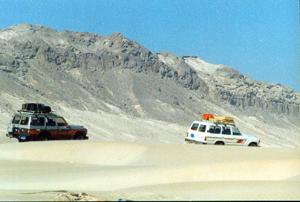 dunes across highway Yemen