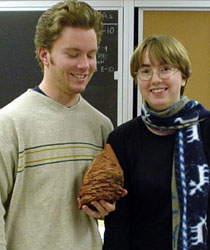Brandon and Breanyn and a stromatolite