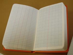 Geology field notebook with lined and graph paper on facing pages