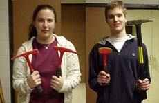 Geoscientists with different kinds of hammers