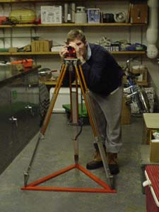 Mike McCulloch demonstrates surveyor's tripod