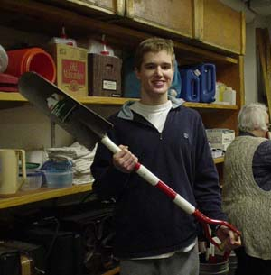 Mike with tiling spade