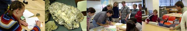 Images of geoscience students in the lab