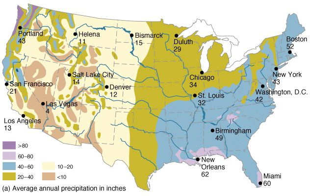 Hydrosphere Detailed Example - Annual precipitation map us