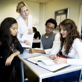 teacher and group work