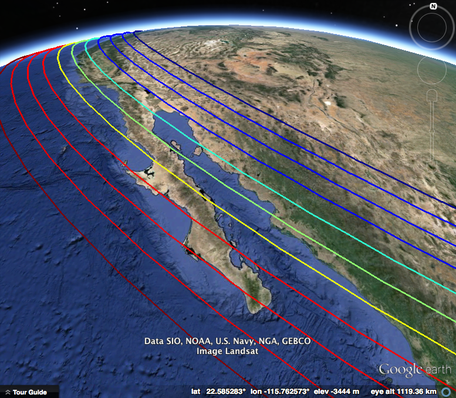 Google Earth view of Gulf of California with plate motion contours overlain