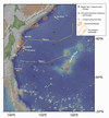 Map of Bathymetry, Drilling Sites, and Earthquakes