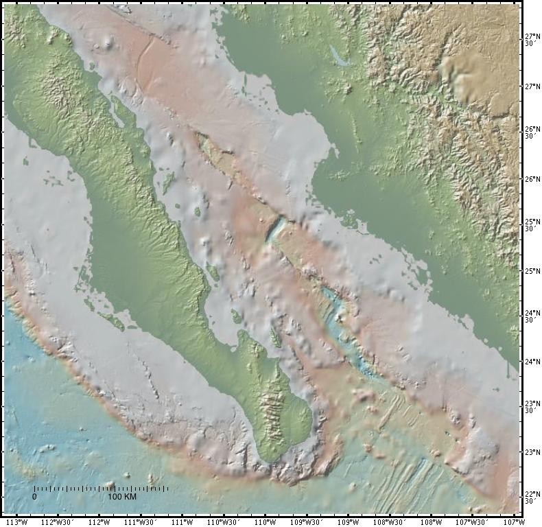 Gulf Of California Map.Bathymetry Map Of Southern Gulf Of California