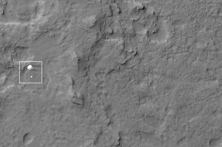 Curiosity Decent as captured by HiRISE