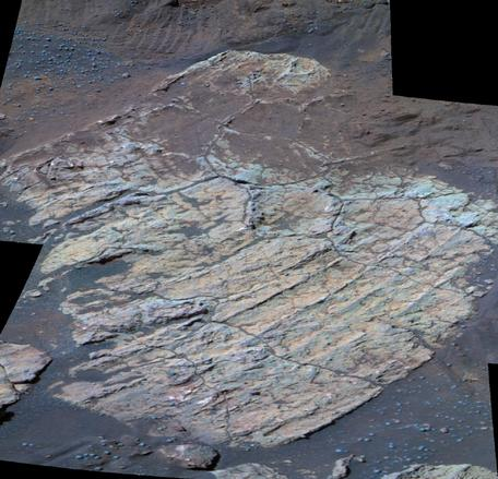 """Escher"" rock in Endurance Crater investigated by Opportunity rover; Image Credit: NASA/JPL"