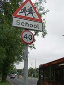 Speed limit sign in Britain