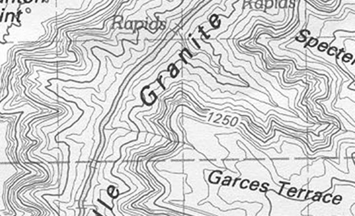 Topographic Map Grand Canyon.Garces Terrace 1 Grand Canyon