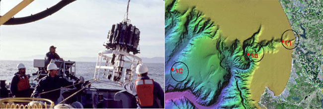 Combined image of sampling locations in Montery Bay and the device used to taks the samples.