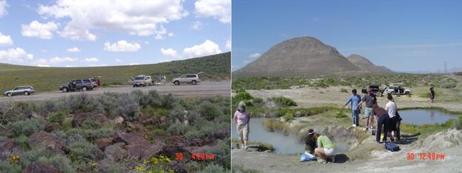 Picture of the sampling caravan stopped for a picnic and at Trego Hot Springs