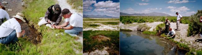 Three images of the investigators sampling thermal features