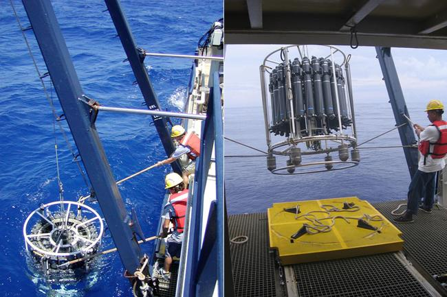 Deploying a conductivity temperature depth CTD rosette profiling package in the Northwestern Sargasso Sea off of Bermuda.