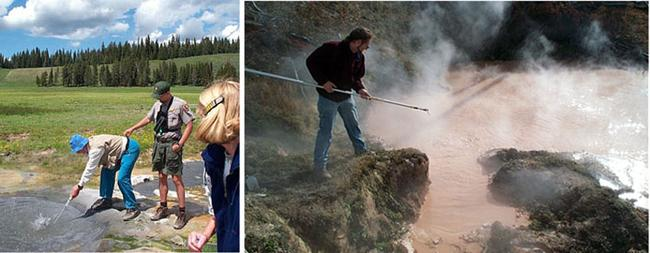 Left:  Wolfram Zillig taking an anaerobic sample from beneath a thermal pool with the assistance of a local Yellowstone Ranger. Right: Ken Stedman collecting samples near the surface of a thermal pool in the Rabbit Creek area near Old Faithful.