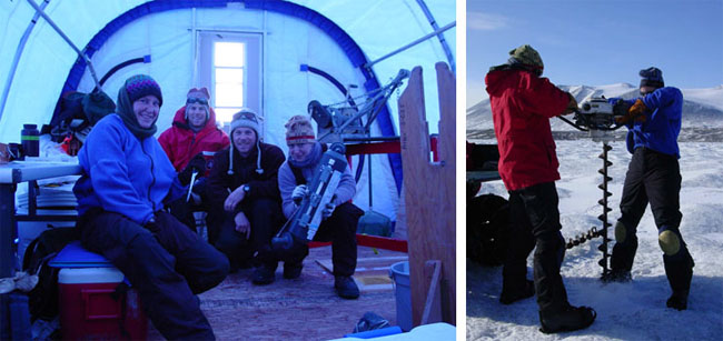 Sample collection hut and drilling in the McMurdo Dry Valleys