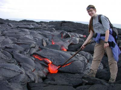 Poking lava in Hawaii