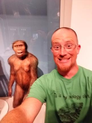 Mr. Koenig with a model of Au. afarensis at the Perot Museum of Nature and Science, Dallas, Texas.