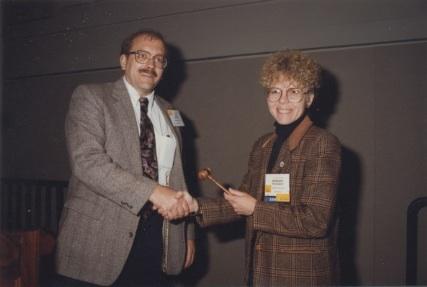 Barbara Tewksbury Presenting Gavel to John Wagner