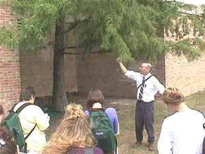 M. Francek leading a campus field trip at Central Michigan University.