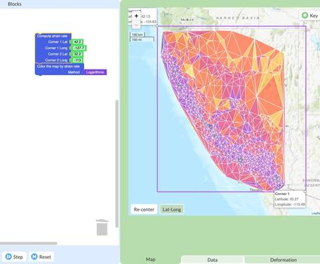 GeoCode example. Map of California strain rates as determined through student coding using GPS data.
