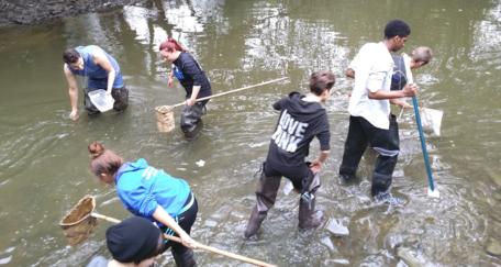 Students sampling a river