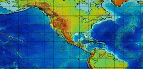 World bathymetry map