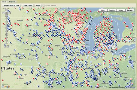 Neotoma database search map