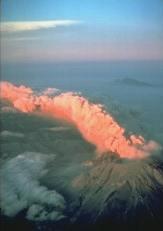 Volcanic ash at sunset.