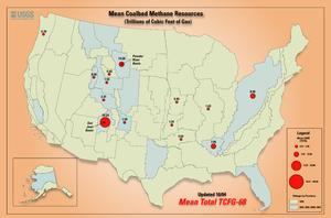 Map of US Coalbed Methane resources.
