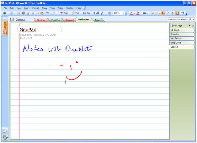 OneNote window