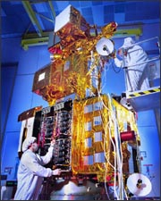 Landsat 7 in the construction bay