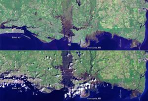Landsat 7 images show damage from Hurricane Katrina along the Mississippi Gulf Coast from Biloxi, Mississippi to the edge of Mobile, Alabama.